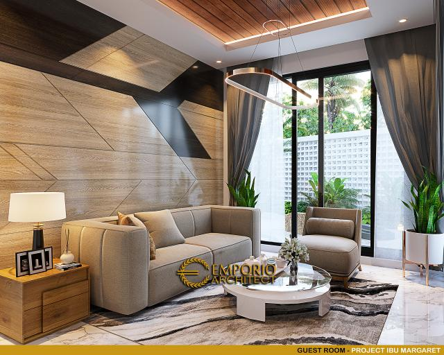 Desain Ruang Tamu Rumah Modern 3 Lantai Ibu Margaret di Jakarta