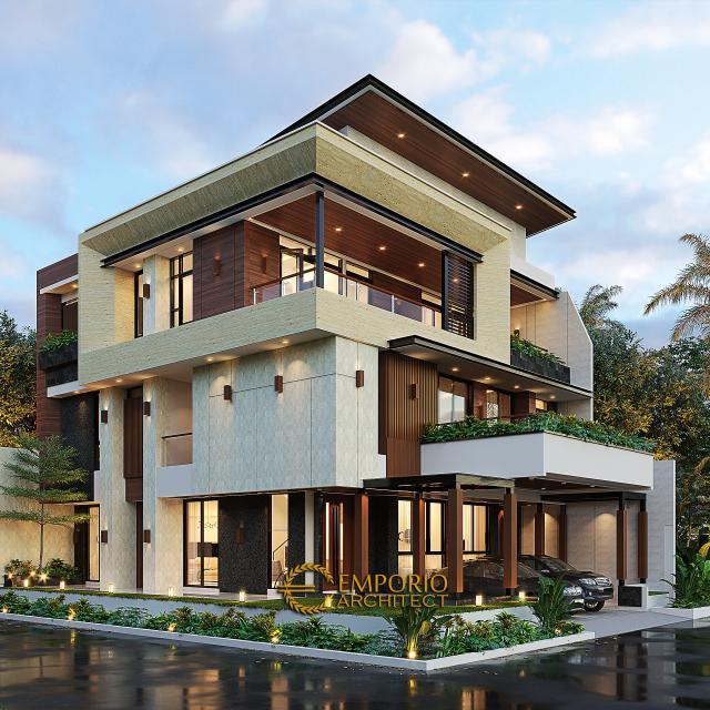 Desain Tampak Hook Rumah Modern 3 Lantai Bapak Budiono di Jakarta Barat