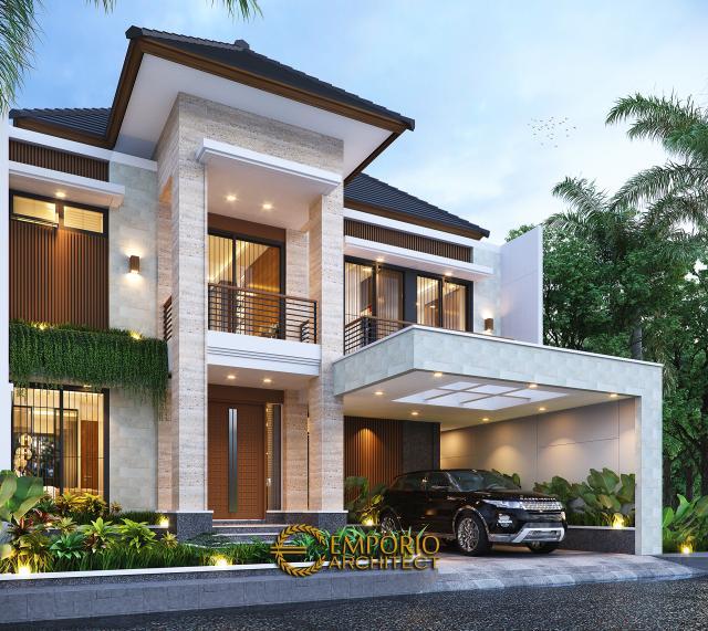 Desain Rumah Modern 3 Lantai Bapak Mathius di Makassar, Sulawesi Selatan - Tampak Depan Kiri