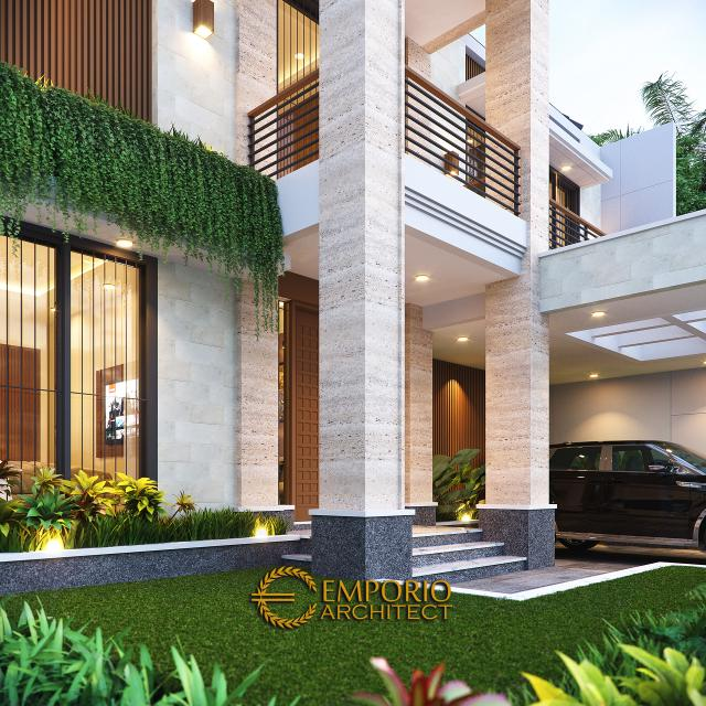 Desain Tampak Detail Depan Rumah Modern 3 Lantai Bapak Mathius di Makassar, Sulawesi Selatan
