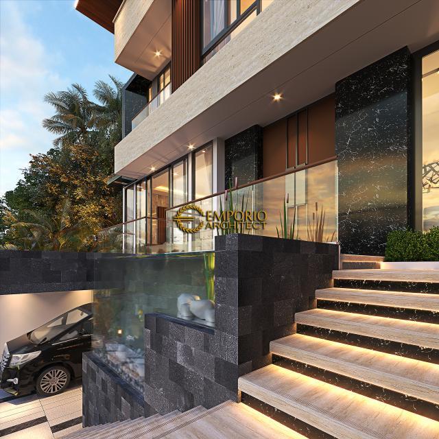 Desain Tampak Detail Depan Rumah Modern 3 Lantai Bapak Akbar di Jakarta