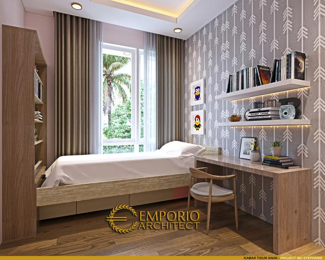 Desain Kamar Tidur Anak Rumah Modern 3 Lantai Ibu Stephanie di Jakarta Barat