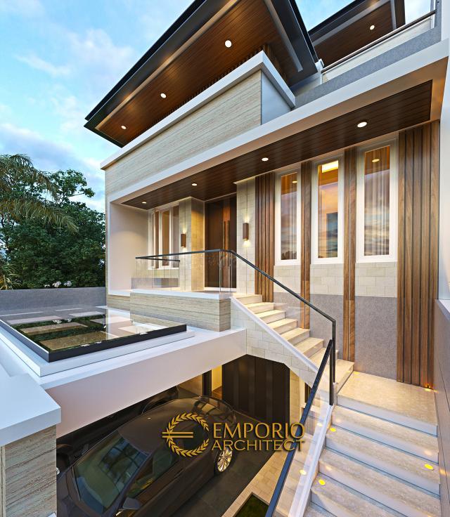 Desain Tampak Detail Depan Rumah Modern 3 Lantai Ibu Stephanie di Jakarta Barat