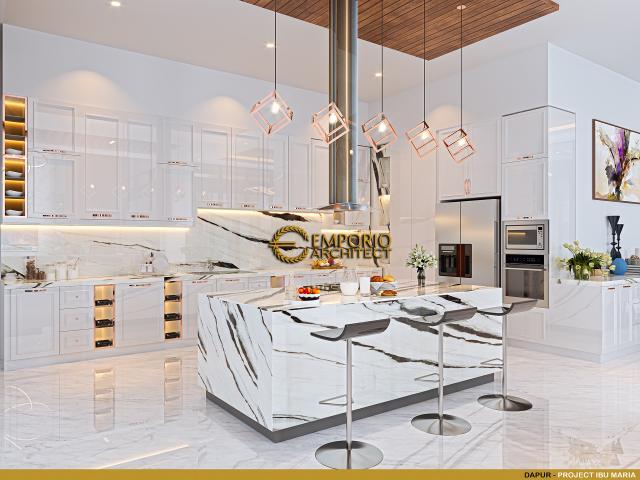 Desain Dapur Rumah Modern 3 Lantai Ibu Maria di Jakarta