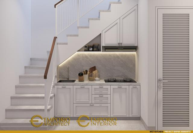Desain Dapur Rumah Modern 3 Lantai Bapak Armanto di Jakarta Utara