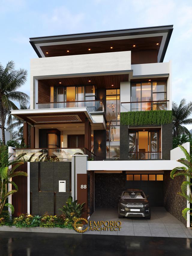 Desain Rumah Modern 3 Lantai Bapak Budi di Jakarta Utara - Tampak Depan