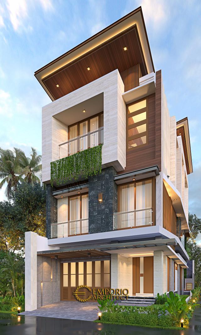 Desain Rumah Modern 3 Lantai Ibu Silvi II di Surabaya - Tampak Hook