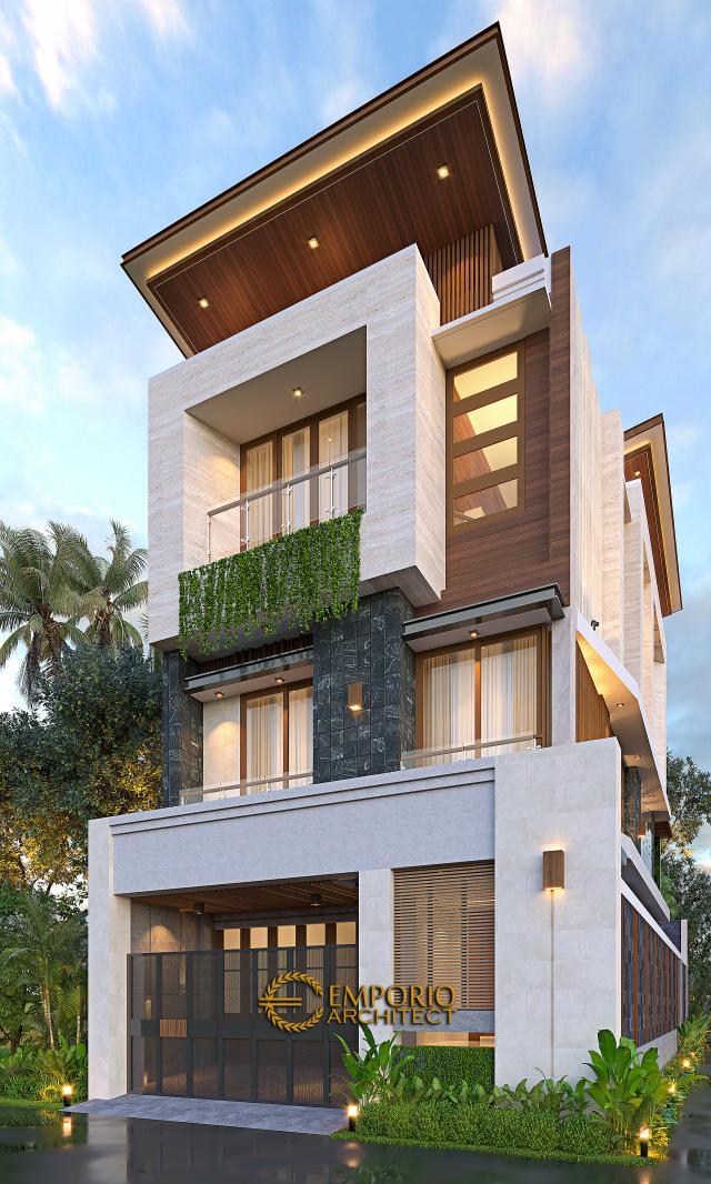 Desain Tampak Depan Dengan Pagar Rumah Modern 3 Lantai Ibu Silvi II di Surabaya