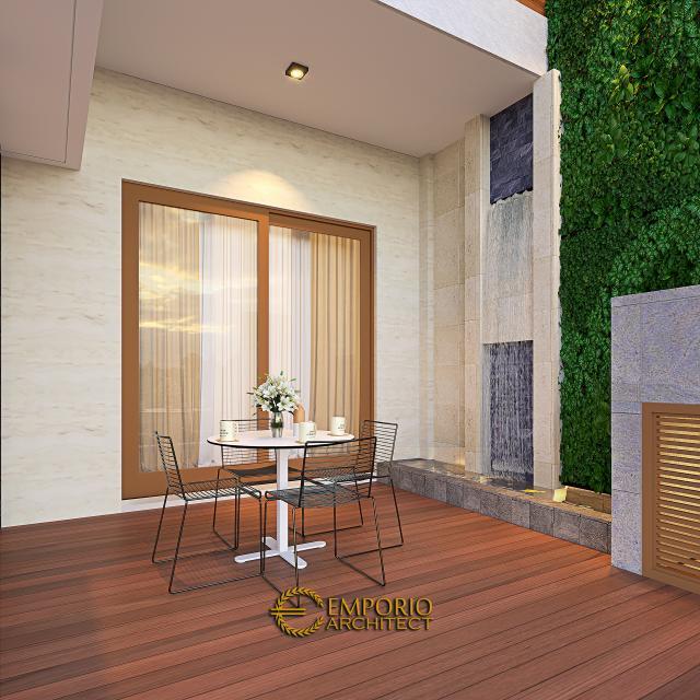 Desain Tampak Detail Belakang Rumah Modern 3 Lantai Ibu Silvi II di Surabaya