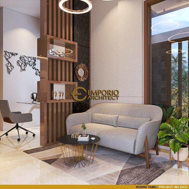 Desain Ruang Tamu Rumah Modern 3 Lantai Ibu Silvi II di Surabaya