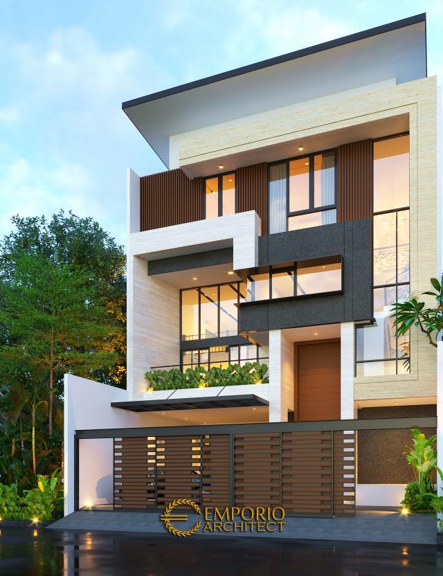 Desain Tampak Depan Dengan Pagar Rumah Modern 3 Lantai Bapak Leonardy di Jakarta Utara
