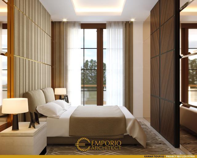Desain Kamar Tidur 2 Rumah Modern 3 Lantai Ibu Liza Fitria di Bukittinggi, Sumatera Barat
