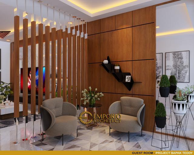 Desain Ruang Tamu Rumah Modern 3 Lantai Bapak Teddy di Jakarta Utara