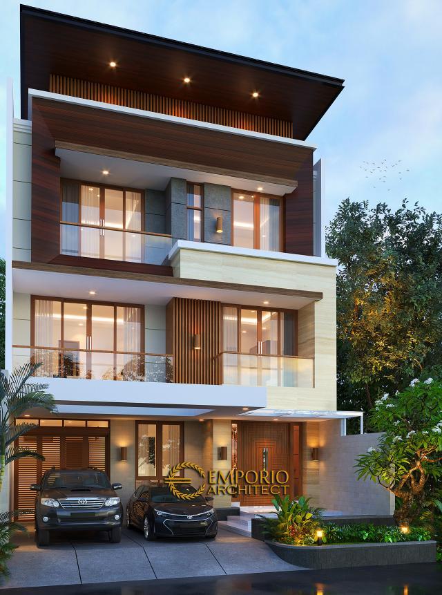 Desain Rumah Modern 3 Lantai Bapak Teddy di Jakarta Utara - Tampak Depan Tanpa Pagar