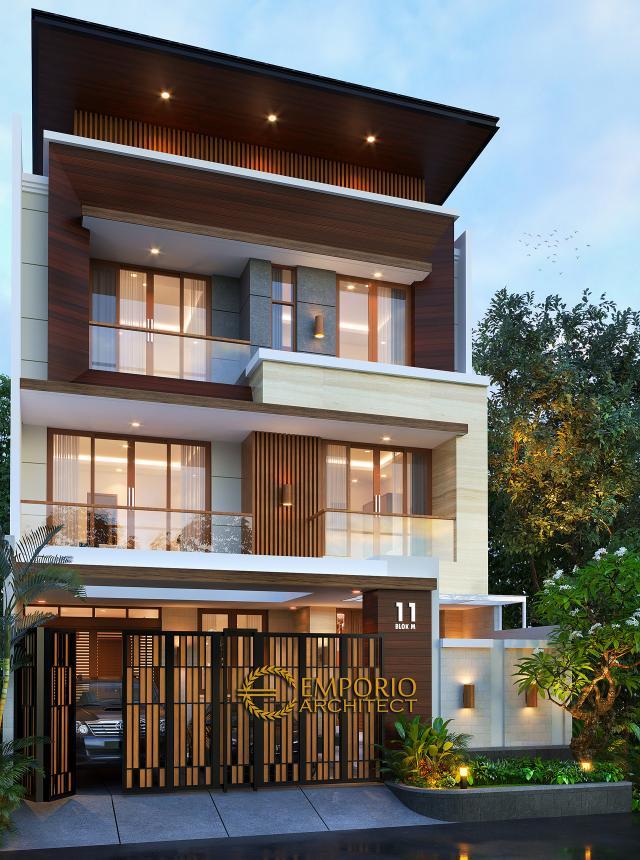 Desain Tampak Depan Dengan Pagar Rumah Modern 3 Lantai Bapak Teddy di Jakarta Utara