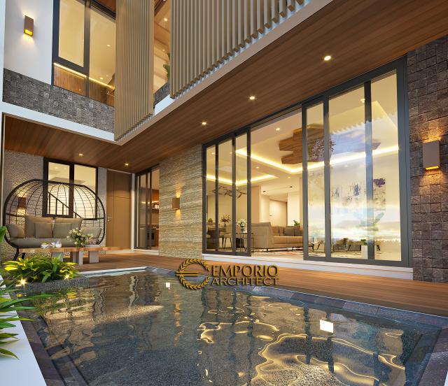 Desain Tampak Detail Belakang Rumah Modern 3 Lantai Bapak Fahmi di Tangerang, Banten