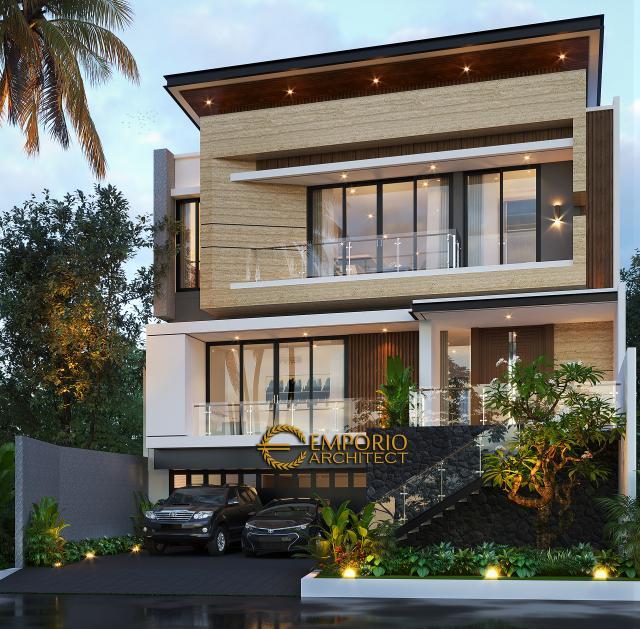 Desain Tampak Depan Tanpa Pagar 2 Rumah Modern 3 Lantai Mr. K di Jakarta