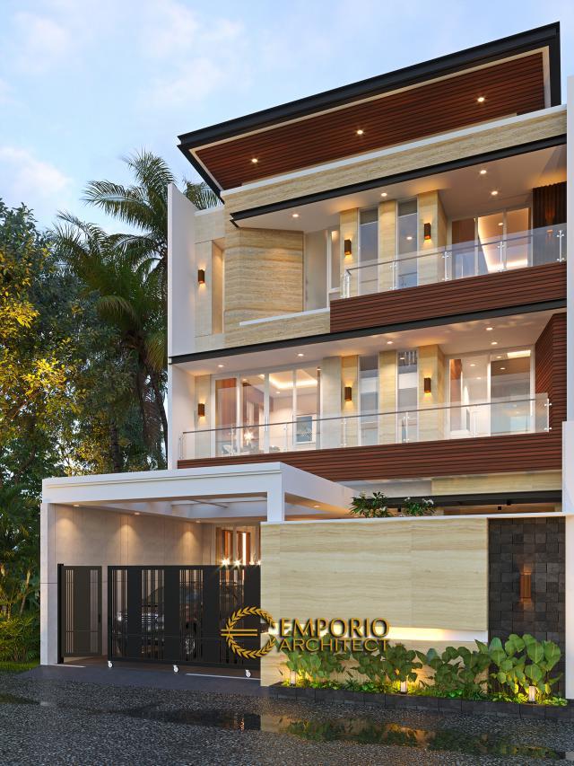 Desain Tampak Depan Dengan Pagar Rumah Modern 3 Lantai Bapak Gunawan di Jakarta Barat