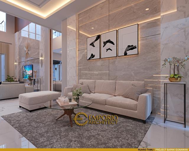 Desain Ruang Tamu Rumah Modern 3 Lantai Bapak Gunawan di Jakarta Barat