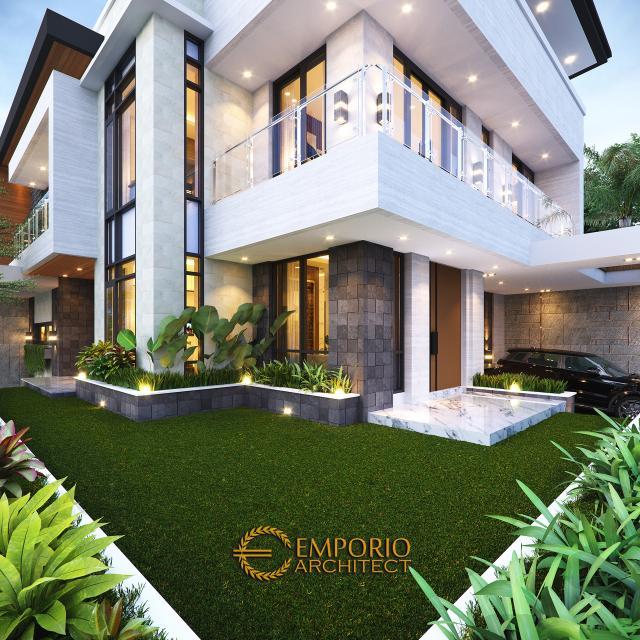 Desain Tampak Detail Depan Rumah Modern 3 Lantai Bapak Juliawan di Kendari, Sulawesi Tenggara