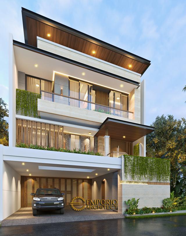 Desain Rumah Modern 3 Lantai Ibu Anya di Jakarta - Tampak Depan