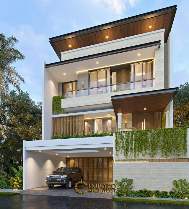 Desain Tampak Depan 2 Rumah Modern 3 Lantai Ibu Anya di Jakarta