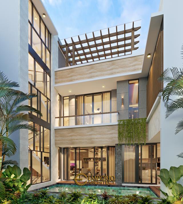 Desain Tampak Belakang Rumah Modern 3 Lantai Ibu Anya di Jakarta