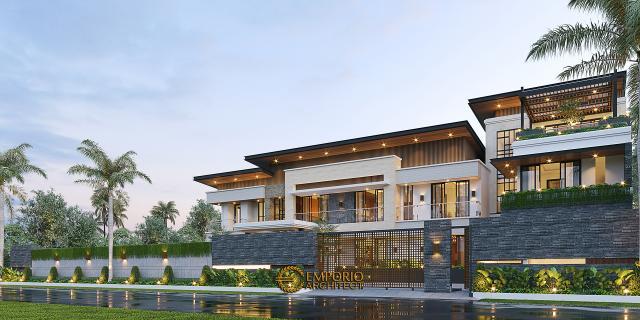 Desain Tampak Depan Dengan Pagar Rumah Modern 3 Lantai Bapak Fernando di Timor Leste