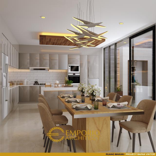 Desain Ruang Makan dan Dapur Rumah Modern 3 Lantai Bapak Victor di Jakarta