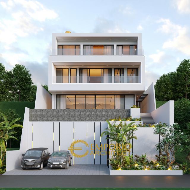 Desain Tampak Depan Rumah Modern 3 Lantai Ibu Connie di Bogor, Jawa Barat