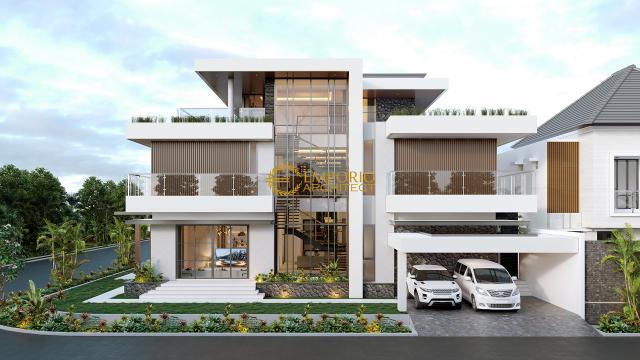 Desain Tampak Depan Kanan Rumah Modern 3 Lantai Ibu Eva di Jakarta Utara