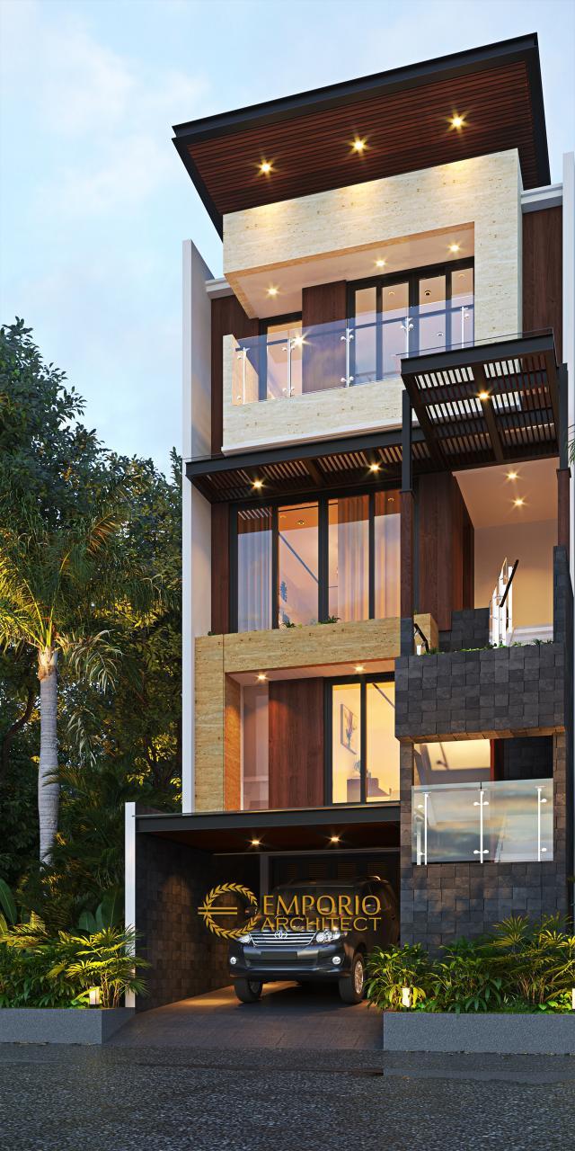 Desain Rumah Modern 3.5 Lantai Bapak Doddy di Jakarta Utara - Tampak Depan