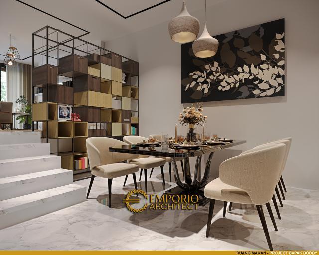 Desain Ruang Makan Rumah Modern 3.5 Lantai Bapak Doddy di Jakarta Utara