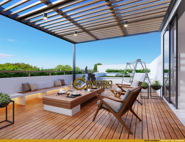 Desain Roof Garden Rumah Modern 3.5 Lantai Ibu Cannida di Jakarta Barat