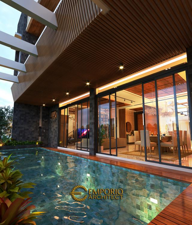 Desain Tampak Detail Belakang 2 Rumah Modern 3.5 Lantai Ibu Cannida di Jakarta Barat