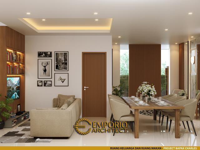 Desain Ruang Keluarga dan Ruang Makan Rumah Modern 4 Lantai Bapak Charles di PIK, Jakarta Utara