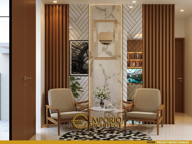 Desain Foyer Rumah Modern 4 Lantai Bapak Charles di PIK, Jakarta Utara