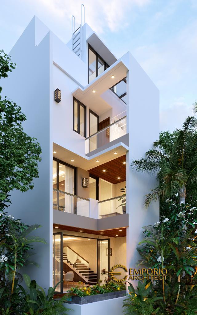 Desain Tampak Belakang Rumah Modern 4 Lantai Bapak Wibowo di Semarang, Jawa Tengah