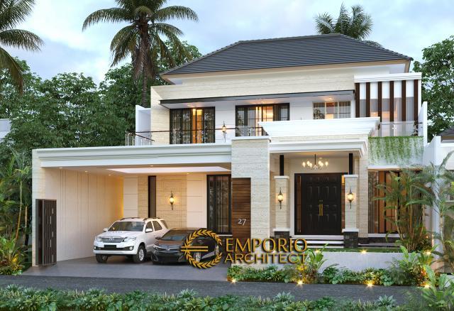 Desain Tampak Depan Tanpa Pagar Rumah Modern Classic 2 Lantai Bapak Nanda di Padang, Sumatera Barat