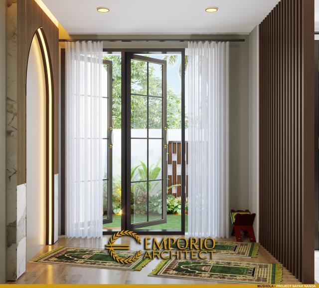 Desain Mushola Rumah Modern Classic 2 Lantai Bapak Nanda di Padang, Sumatera Barat