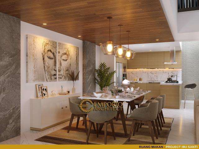 Desain Ruang Makan Rumah Modern Classic 4.5 Lantai Ibu Santi di Jakarta Selatan