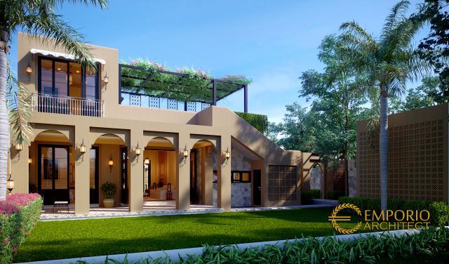 Desain Tampak Belakang 2 Rumah Moroccan Style 1.5 Lantai Bapak M. Ahmad di Cirebon, Jawa Barat