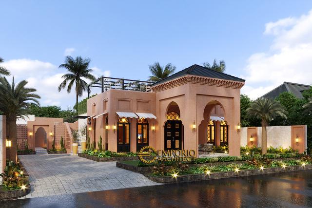 Desain Rumah Moroccan Style 1.5 Lantai Bapak M. Ahmad di Cirebon, Jawa Barat - Tampak Depan