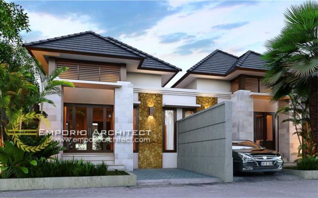 Desain Exterior 1 Rumah Villa Bali 1 Lantai Bapak Putra Depok di Depok