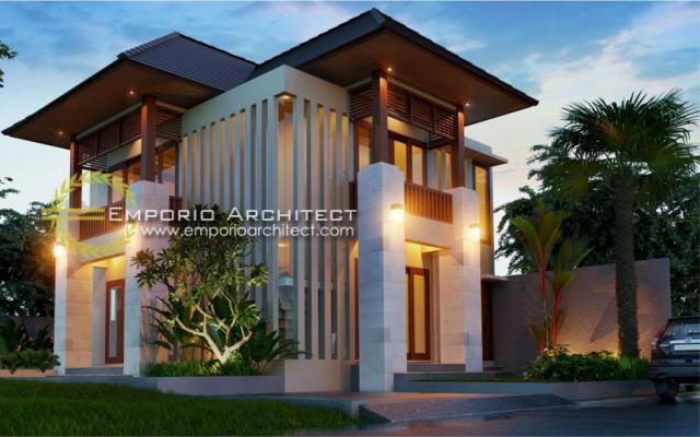 Desain Exterior Rumah Villa Bali 2 Lantai Bapak Putu Yudi di Denpasar, Bali