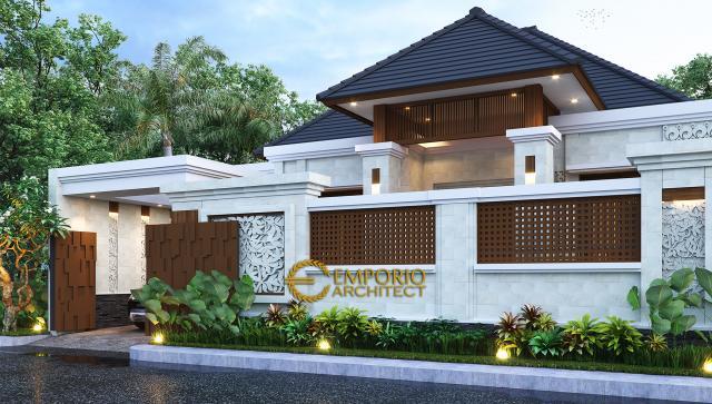 Desain Tampak Depan Dengan Pagar Rumah Villa Bali 1 Lantai Bapak Bromi di Pekanbaru, Riau