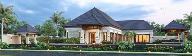 Desain Tampak Samping Rumah Villa Bali 1 Lantai Ibu Asih di Pangkalan Bun, Kalimantan Tengah
