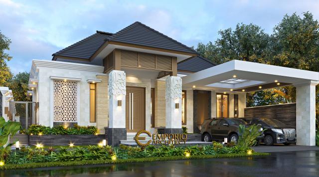 Desain Rumah Villa Bali 1 Lantai Ibu Dewi di Purwakarta - Tampak Depan Tanpa Pagar