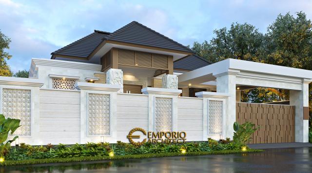 Desain Tampak Depan Dengan Pagar Rumah Villa Bali 1 Lantai Ibu Dewi di Purwakarta