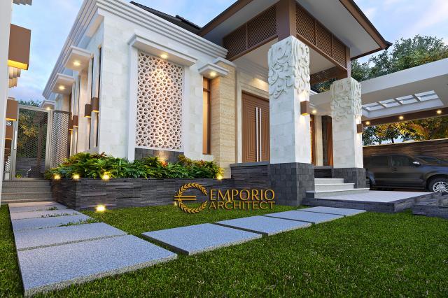 Desain Tampak Detail Depan Rumah Villa Bali 1 Lantai Ibu Dewi di Purwakarta